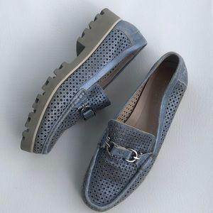 Donald J Pliner blue metallic leather loafers 9
